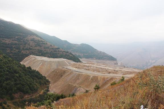 Mine tailings fill valley near Kajaran,, Syunik province