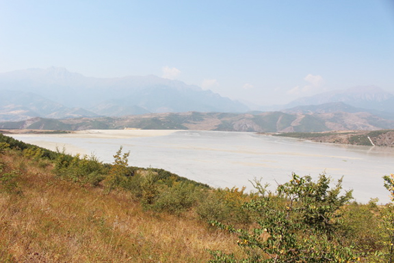Liquid mine waste fills valley near Kapan, Syunik province