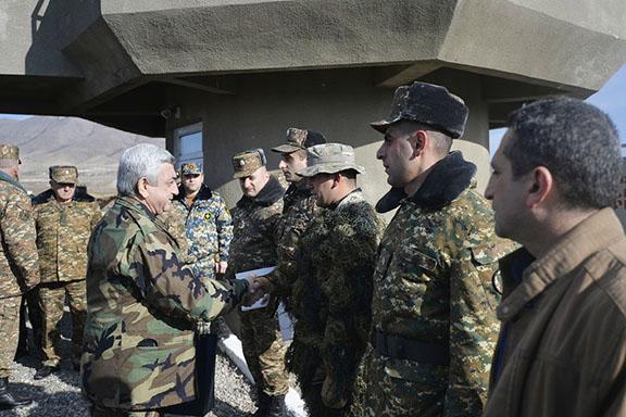 President Serzh Sarkisian in Artsakh visiting troops