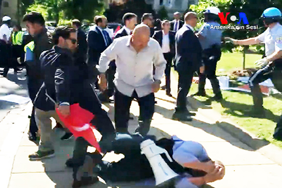 A scene from the May 16th Erdogan-ordered attack on peaceful protesters in Washington