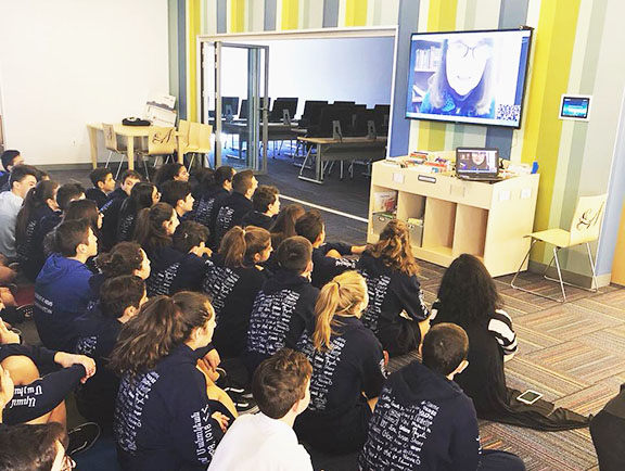 Chamlian 8th grade students participate in a talk with civil rights activist Bethel Charkoudian
