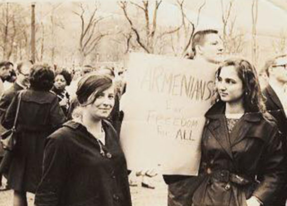 Bethel Charkoudian (right) during the 1965 civil rights march on Washington