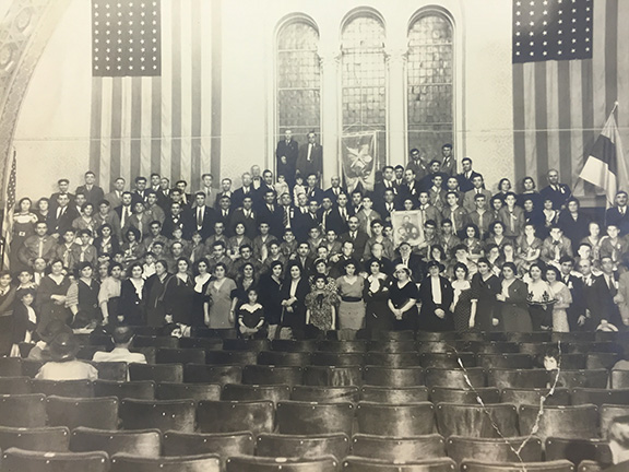 """General Karekin Njdeh (center) in Los Angeles in 1933 for the installation of the AYF """"Mousa Dagh"""", currently known as the """"Mousa Ler""""  chapter"""