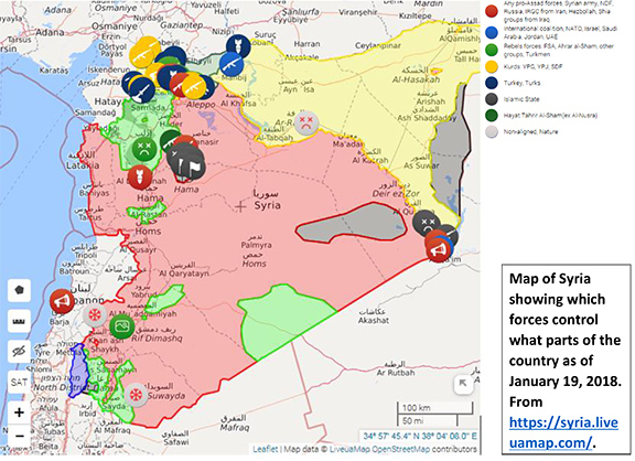 Map showing Turkey's inroads in Syria