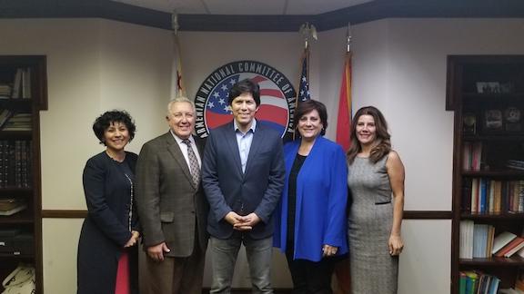 Senator Kevon de Leon with the ANCA-WR board members