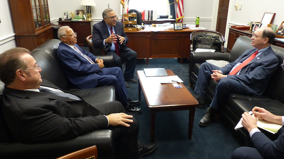 Paul Korian, Chairman and Managing Partner of the Armenia Marriott Hotel Complex, investor Peklar Pilavjian and the ANCA's Aram Hamparian discussing the benefits of a U.S. Armenia Double Tax Treaty with Senior House Foreign Affairs Committee member and international tax expert, Rep. Brad Sherman (D-CA).