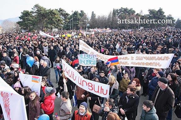 The jubilant crowd at Stepanakert's celebration of Artsakh movement's 30th anniversary