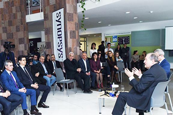 Armenia's presidential candidate Dr. Armen Sarkissian reflected on public views as meeting with IT leaders at Synopsis