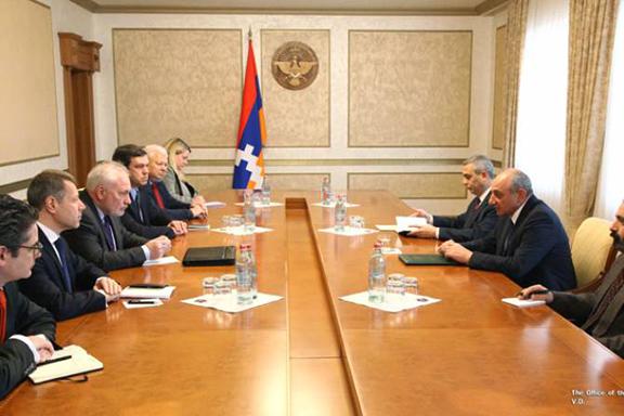 OSCE Minks Group Co-Chairs (left) meet with Artsakh President Bako Sahakian