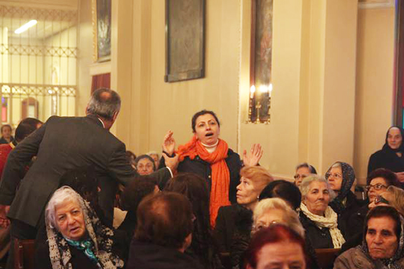 Besse Kabak protested Atexhian's reinstatement during Sunday Mass and was arrested