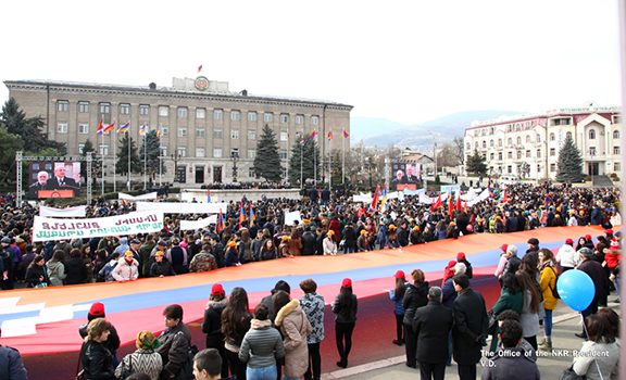 Thousands gathered at Stepanakert's Renaissance Square to mark 30th anniversary of Artsakh's liberation movement