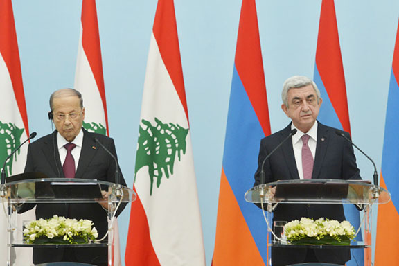 Lebanese President Michel Aoun (left) with President Serzh Sarkisian brief the press after their meeting in Yerevan Thursday