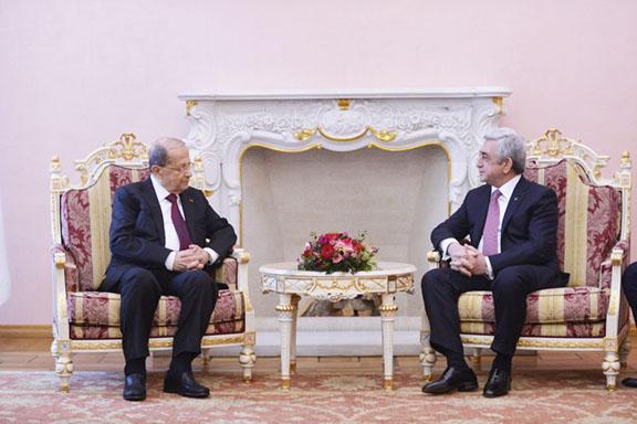 Presidents Serzh Sarkisian and Michel Aoun met on Thursday