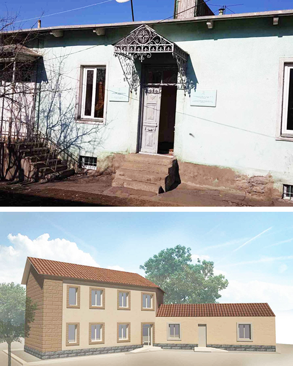The Akhaltskha youth center (top) is currently in disrepair. Above, an architects's rendering of the proposed renovated center
