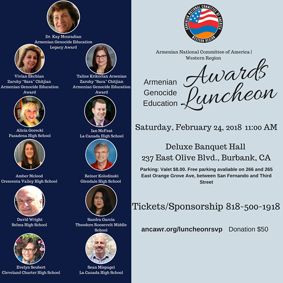 The ANCA-WR will honor eight educators with the Armenian Genocide Education Award
