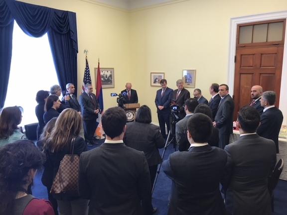 Artsakh President Bako Sahakian addresses members of Congress on Capitol Hill on Wedneday