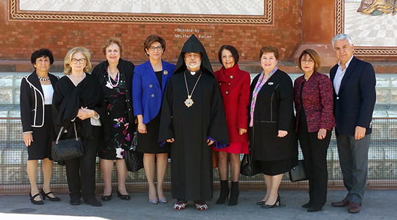 The ABMDR team with Arch. Hovnan Derderian outside St. Leon Cathedral on March 4 when prayers were offered throughout Diocese churches for ABMDR patients