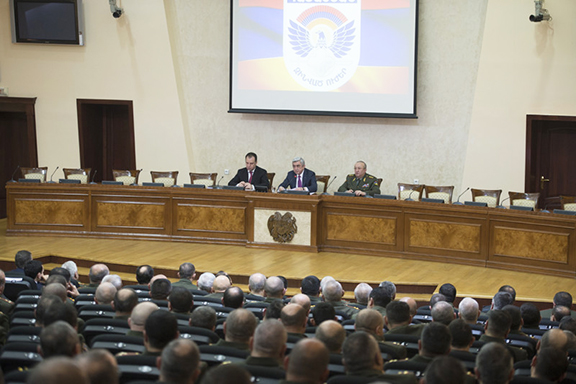 President Serzh Sarkisian addresses senior Armed Forces officials on Monday