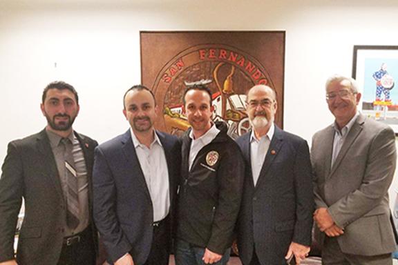 From left to right: Serob Abrahamian, Kevin Boyadjian, Councilmember Mitch Englander, Nichan Kulukian, and Greg Mazmanian