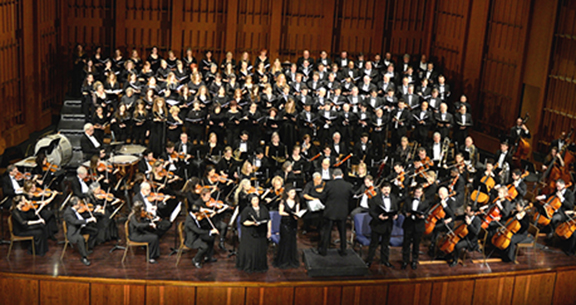 """Lark Orchestra-Chorus performing the """"Faith and Love"""" concert to mark the centennial of the AMAA"""