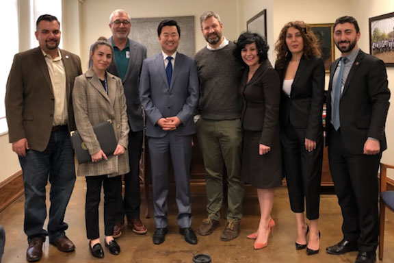 ANCA-WR local chapter representatives and staff with LA City Councilmember David Ryu (center)