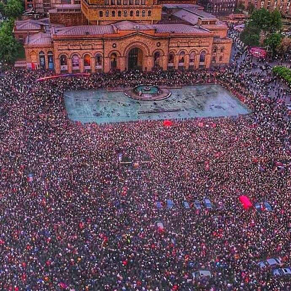 Thousands gather at Republic Square in Yerevan on Monday to usher in a new era after the resignation of prime minister Serzh Sarkisian