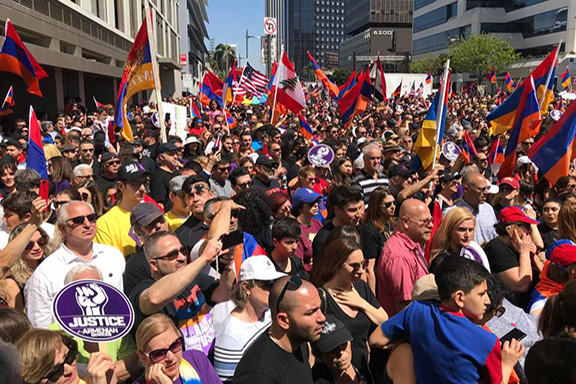 A scene from the 40,000-strong March for Justice at the Turkish Consulate in Los Angeles