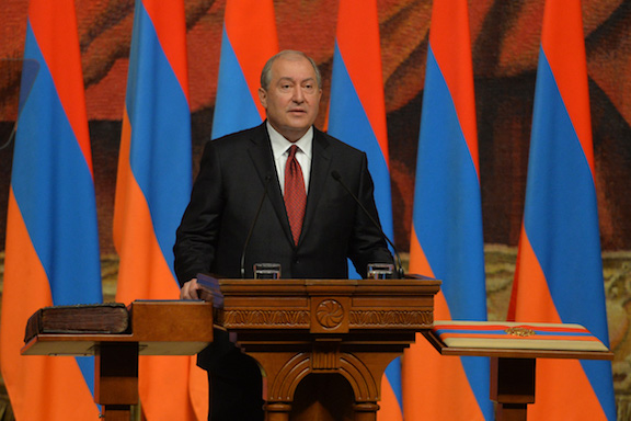 Dr. Armen Sarkissian , after being sworn in as the 4th president of Armenia, gives his inauguration address