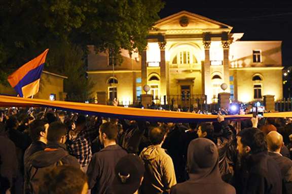 Opposition protesters gathered at Prime Minister Serzh Sarkisian's residence on Wednesday evening
