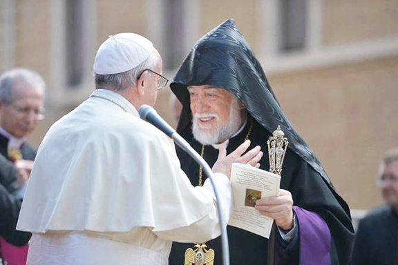 Pope Francis met with His Holiness Aram I, Catholicos of the Great House of Cilicia on Thursday at the Vatican