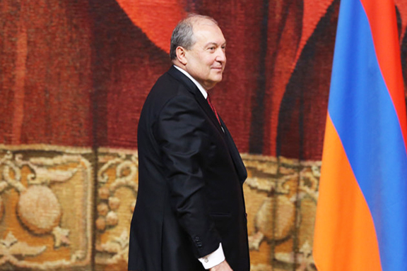 President Armen Sarkissian during his inauguration on April 9