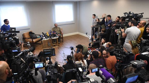 Opposition leader Nikol Pashinyan during a press conference Friday after acting prime minister Karen Karepetyan refused to meet in front of cameras for negotiations