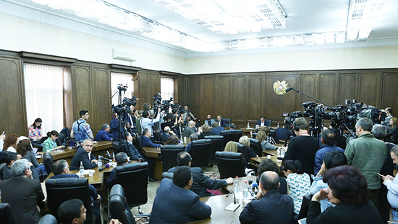 Prime minister candidate Nikol Pashinyan was grilled by members of the Republican Party of Armenia parliamentary faction on Monday