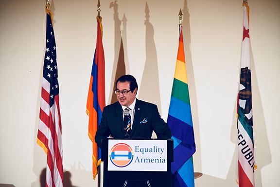 Then Glendale Mayor Vartan Gharpetian addresses the Equality Armenia event