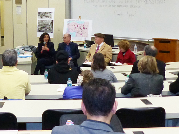 Armenian Legal Center's Executive Director Kate Nahapetian speaking at Georgetown University panel on reconciliation after genocide.