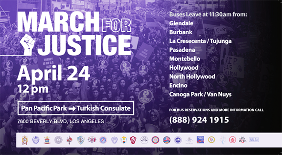 The annual March for Justice to commemorate the Armenian Genocide will take place on Tuesday, April 24 at the Turkish Consulate