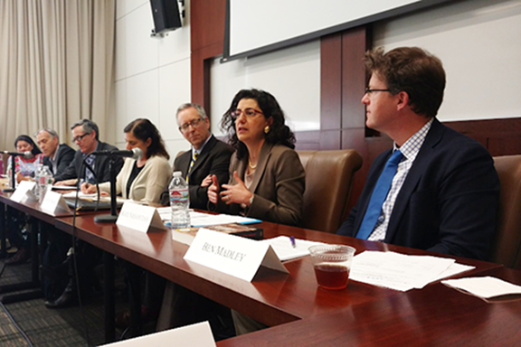 Armenian Legal Center's Executive Director Kate Nahapetian speaking at UCLA Law panel on genocide accountability.