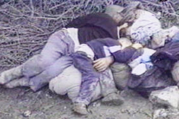 The corpses of Armenians piled up in Maragh after Azerbaijani forces massacred the residents in 1992