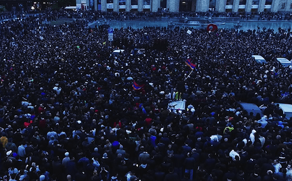 Tens of thousands gather at Republic Square on the 9th day of protests against Serzh Sarkisian's rule (Yerkir Media photo)