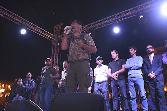 Nikol Pashinyan, the leader of protests against Serzh Sarkisian, at a rally in Yerevan on Wednesday