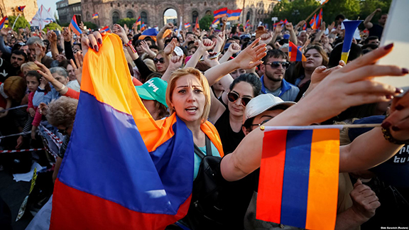A group of protesters during Armenia's People's Movement