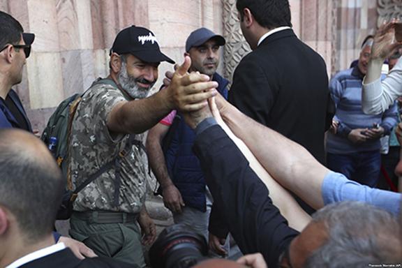 Leader of Armenia's popular movement Nikol Pashinyan at a rally on Wednesday