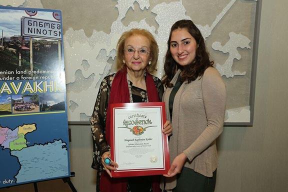 Arda Tchakian (right), District Representative of Senator Anthony J. Portantino, presents honoree Haigoush Keghinian Kohler (left) with a Certificate of Recognition
