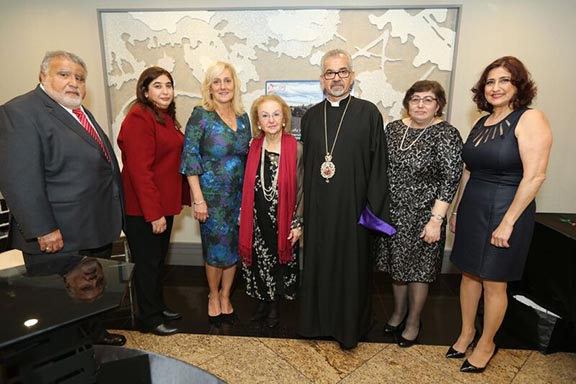 From l to r: ARS Javakhk Fund Committee Member Harout Madenian, ARS Central Executive Vice-Chairperson Nyree Derderian, ARS Regional Executive Chairperson Silva Poladian, honoree Haigoush Kohler, Prelate Archbishop Moushegh Mardirossian, ARS Central Executive member Rita Hintlian, and ARS Javakhk Fund Committee Chairperson Lena Bozoyan