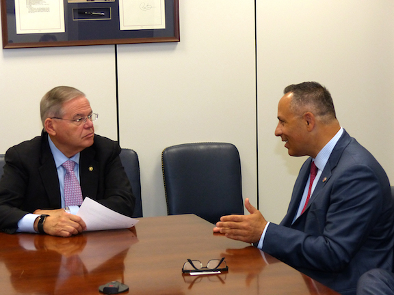 Senate Foreign Relations Committee Ranking Member Robert Menendez (D-NJ) discussing opportunities for a new MCC STEAM education grant for Armenia with ANCA Chairman Raffi Hamparian