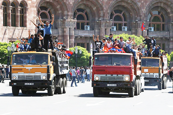 Protesters used trucks to close main streets in Yerevan during a day-long strike