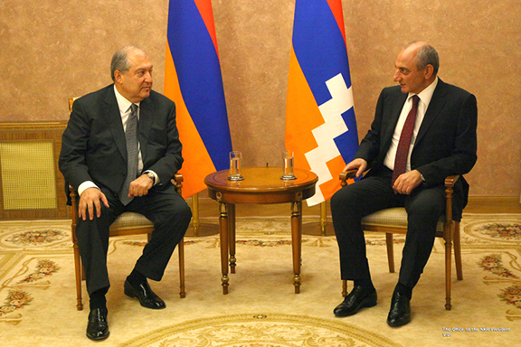 Armenia and Artsakh presidents Armen Sarkissian and Bako Sahakian meet in Stepanakert on Wedneday