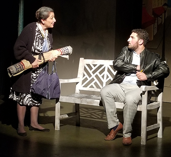 """Maral Varjabedian as Mrs. Yebrakseh and Kevork Habeshian as Norayr in """"Bjegh Muh Anoush Sird"""" (A Bit of a Kind Heart)"""