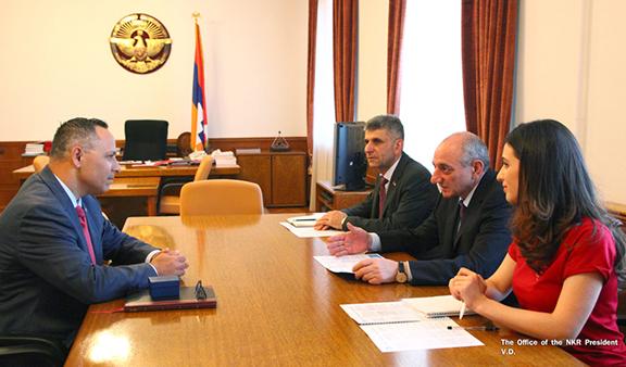ANCA Chairman Raffi Hamparian (left) meets with Artsakh President Bako Sahakian on Monday in Stepanakert