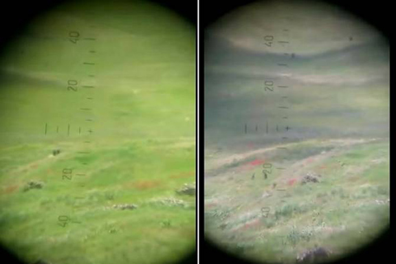 Nigh and day vision footage shows that there are no Azerbaijani advancement on the Nakhichevan-Armenia border (Source: Defense Ministry of Armenia)